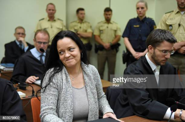 Beate Zschaepe the main defendant in the marathon NSU neoNazi murder trial sits next to her lawyer Mathias Grasel in court on the day federal...
