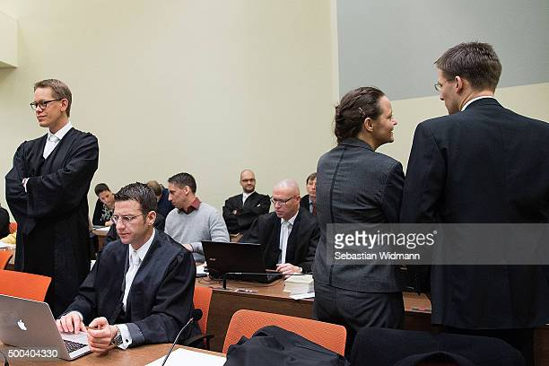 Beate Zschaepe the main defendant in the NSU neoNazi murder trial arrives with her lawyer Mathias Grasel for day 248 of the trial at the...