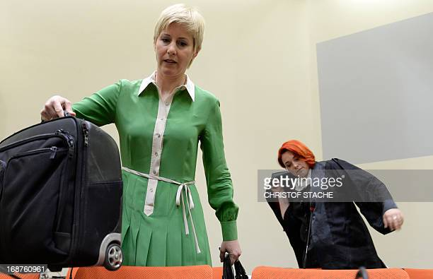 Beate Zschaepe's lawyer Anja Sturm and Nicole Schneiders lawyer of codefendant Ralf Wohlleben arrive for the third session of the trial against...
