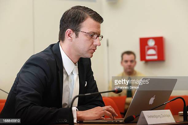 Beate Zschaepe's lawyer Wolfgang Stahl waits in the courtroom ahead of day four of the NSU neoNazis murder trial at the Oberlandgericht Muenchen...