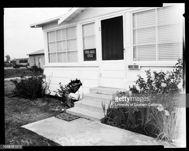 Beaten by husband 20 August 1952 Jill Patterson 17 years House at 21811 South Figueroa Street damaged by autoSupplementary material reads 'Chernus...