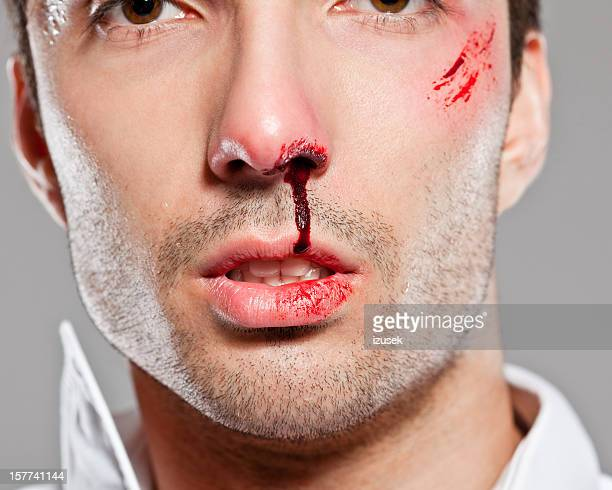 beaten man - zombie face stock photos and pictures
