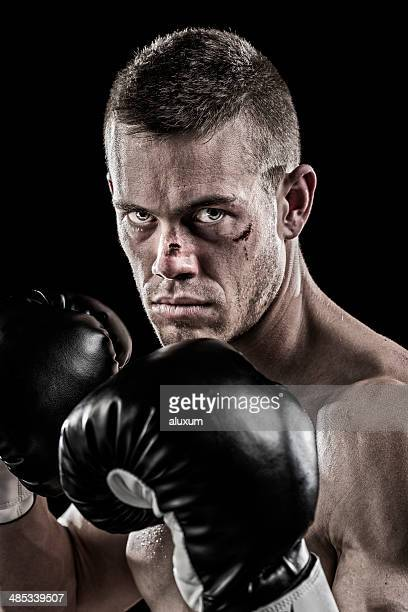 beaten up boxer - beaten stock photos and pictures