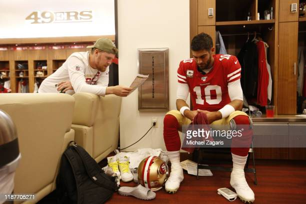 J Beathard and Jimmy Garoppolo of the San Francisco 49ers go over plays in the locker room prior to the game against the Seattle Seahawks at Levi's...