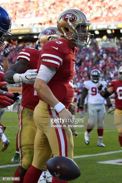 J Beathard of the San Francisco 49ers celebrates after an 11yard touchdownagainst the New York Giants during their NFL game at Levi's Stadium on...
