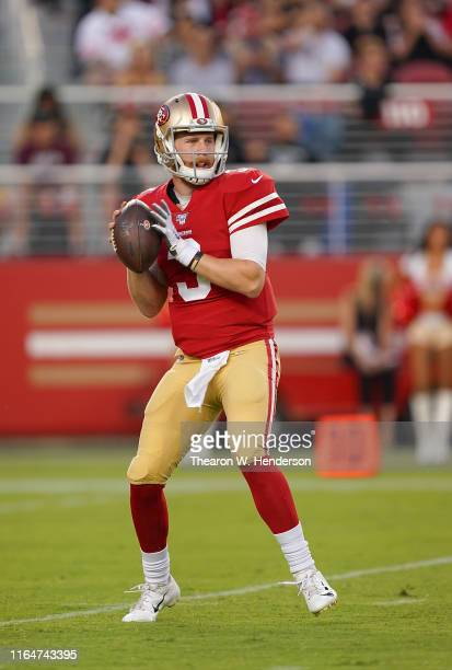 J Beathard of the San Francisco 49ers drops back to pass against the Los Angeles Chargers during the first quarter of an NFL football game at Levi's...