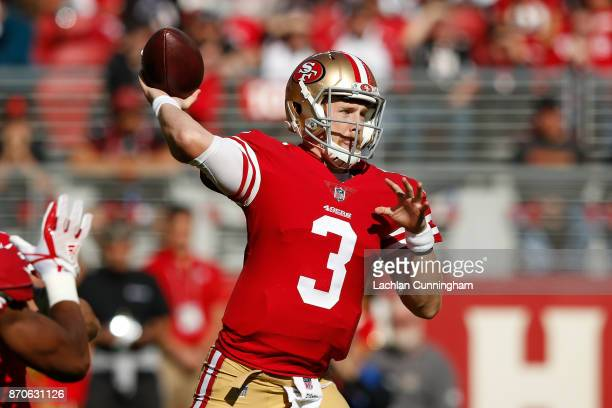 J Beathard of the San Francisco 49ers looks to pass against the Arizona Cardinals during their NFL game at Levi's Stadium on November 5 2017 in Santa...