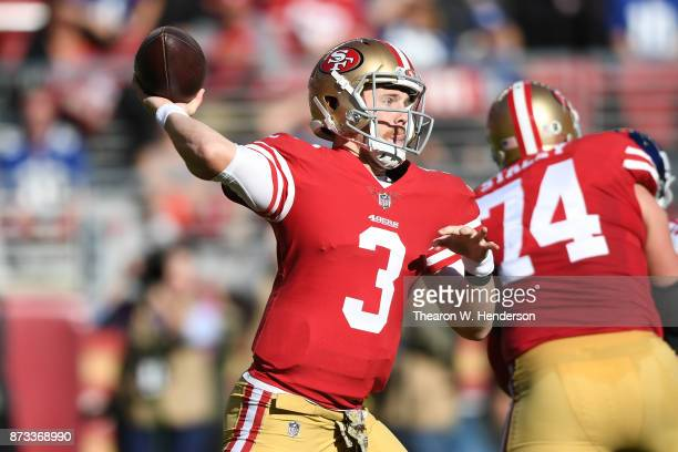 J Beathard of the San Francisco 49ers looks to pass against the New York Giants during their NFL game at Levi's Stadium on November 12 2017 in Santa...