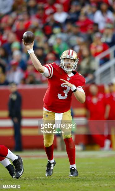 J Beathard of the San Francisco 49ers passes during the game against the Seattle Seahawks at Levi's Stadium on November 26 2017 in Santa Clara...