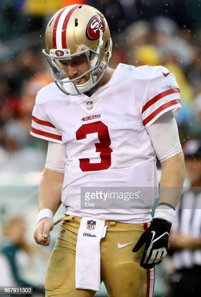 J Beathard of the San Francisco 49ers reacts in the third quarter against the Philadelphia Eagles on October 29 2017 at Lincoln Financial Field in...