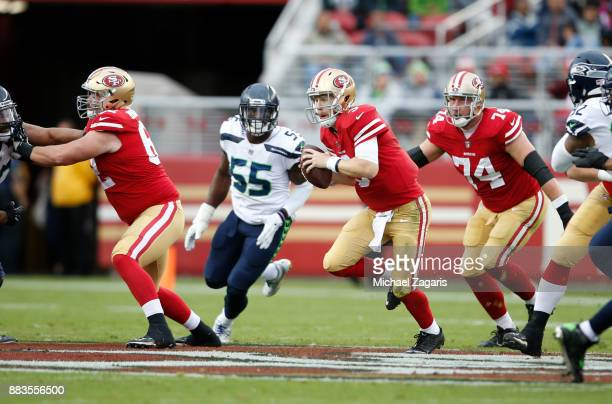 J Beathard of the San Francisco 49ers rushes during the game against the Seattle Seahawks at Levi's Stadium on November 26 2017 in Santa Clara...