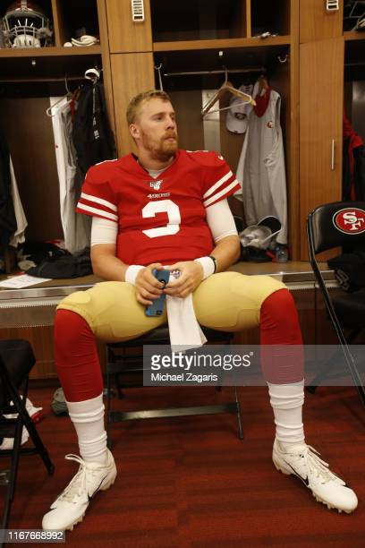 J Beathard of the San Francisco 49ers sits in the locker room prior to the game against the Dallas Cowboys at Levi's Stadium on August 10 2019 in...