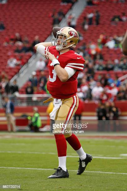J Beathard of the San Francisco 49ers throws a pass during the warm up before the game against the Seattle Seahawks at Levi's Stadium on November 26...