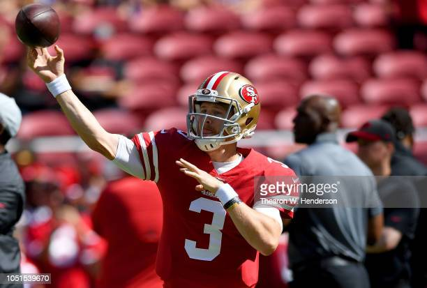 J Beathard of the San Francisco 49ers warms up during pregame warm ups prior to the start of the game against the Arizona Cardinals at Levi's Stadium...