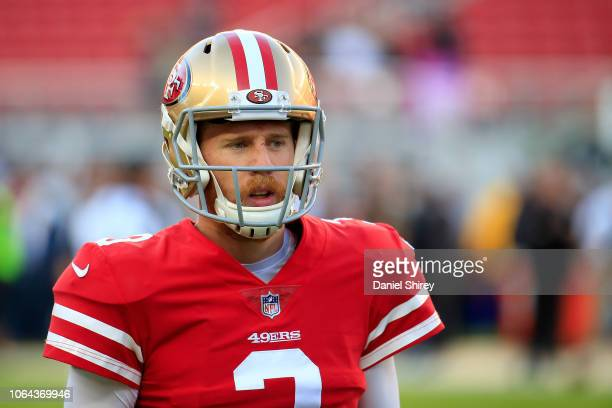 J Beathard of the San Francisco 49ers warms up prior to the game against the Oakland Raiders at Levi's Stadium on November 1 2018 in Santa Clara...
