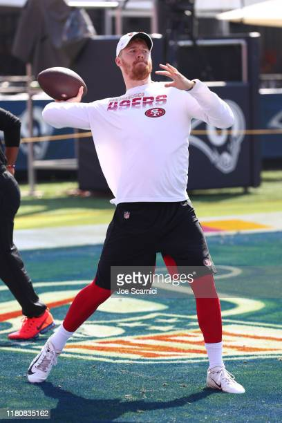 J Beathard of the San Francisco 49ers warms up prior to the San Francisco 49ers v Los Angeles Rams Game at Los Angeles Memorial Coliseum on October...