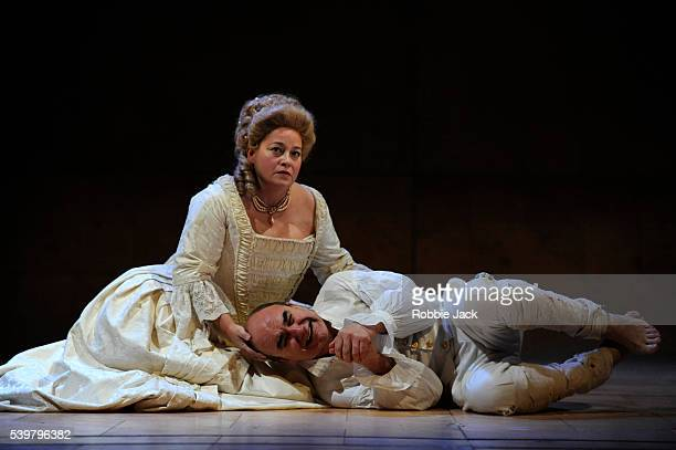 Beatie Edney as Queen Charlotte and David Haig as George III in The Peter Hall Company's production of Alan Bennett's The Madness of George III...
