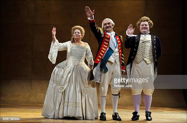 Beatie Edney as Queen Charlotte David Haig as George III and Christopher Keegan as the Prince of Wales in The Peter Hall Company's production of Alan...