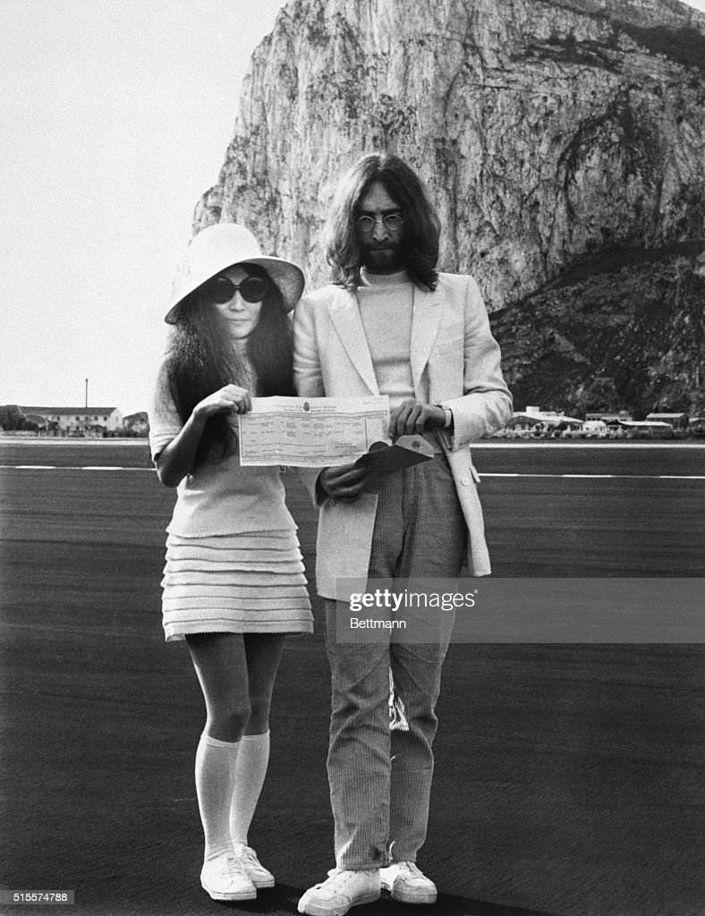 Beatle John Lennon And His Bride Anese Born Yoko Ono Hold The Marriage Certificate