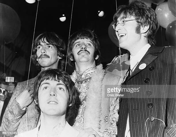 Beatles 1967 George Harrison, Paul McCartney, Ringo Starr and John Lennon at All You Need Is Love TV Show from Abbey Road June 1967