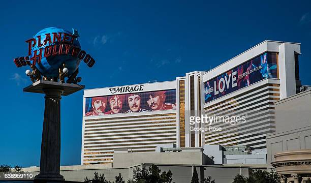 """Beatles Cirque du Soleil show mural for """"Love"""" performed at the Mirage Hotel & Casino is viewed on January 3, 2017 in Las Vegas, Nevada. Tourism in..."""