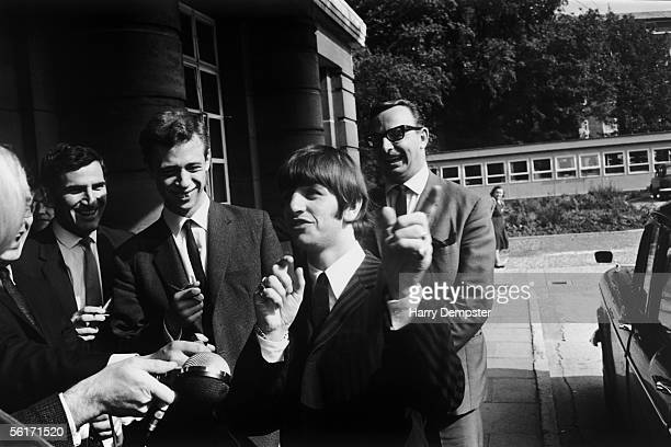 Beatles drummer Ringo Starr meets the press outside Queen Charlotte's Hospital where his wife Maureen has just given birth to their son Zak 14th...