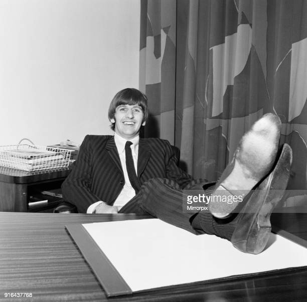 Beatles drummer Ringo Starr speaks to the press after the birth of his baby boy Zak at Queen Charlotte's hospital in London 14th September 1965