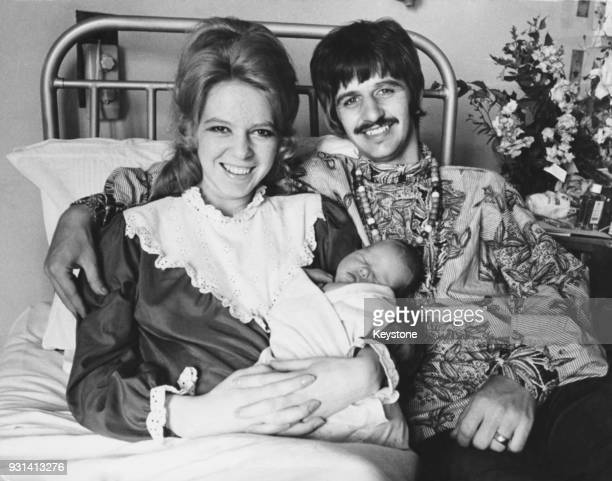 Beatles drummer Ringo Starr with his wife Maureen and their new baby boy Jason at Queen Charlotte's Hospital, London, 21st August 1967.