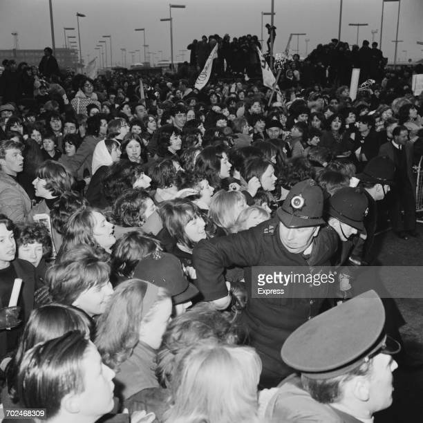 Beatles fans besigning London Airport to catch a glimpse of their idols UK 24th February 1964