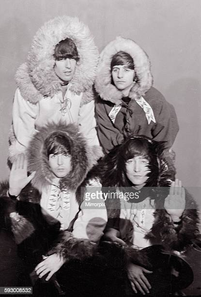 Beatles group shot wearing eskimo outfits December 1964 Top row George Harrison and Ringo Starr Bottom Row Paul McCartney and John Lennon