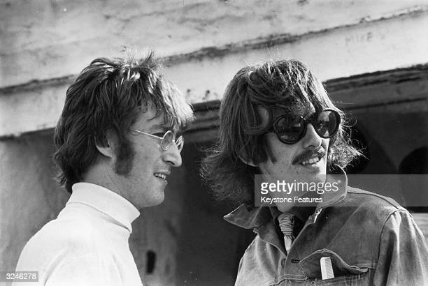 Beatles John Lennon and George Harrison in Newquay while filming 'The Magical Mystery Tour'.
