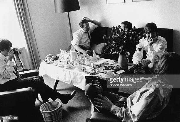 Beatles manager Brian Epstein is interviewed by Don Short of the Daily Mail at the Bayerische Hof Hotel in Munich at the start of the Beatles' final...