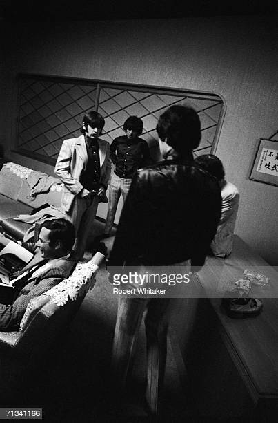 Beatles manager Brian Epstein, Ringo Starr, George Harrison, Paul McCartney and John Lennon backstage at the Budokan Hall, Tokyo, Japan, July 2nd...