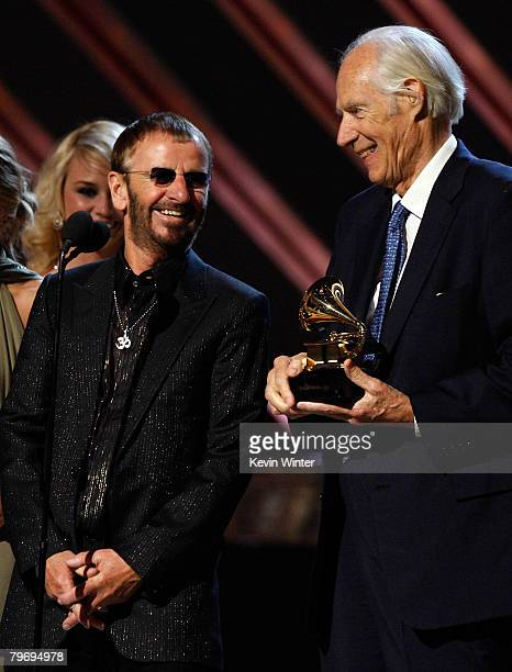 Beatles musician Ringo Starr and Beatles producer Sir George Martin accept the Best Compilation Sountrack Album award for 'Love' onstage during the...