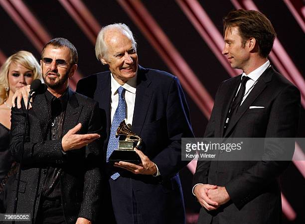 Beatles musician Ringo Starr Beatles producer Sir George Martin and producer Giles Martin accept the Best Compilation Sountrack Album award for...