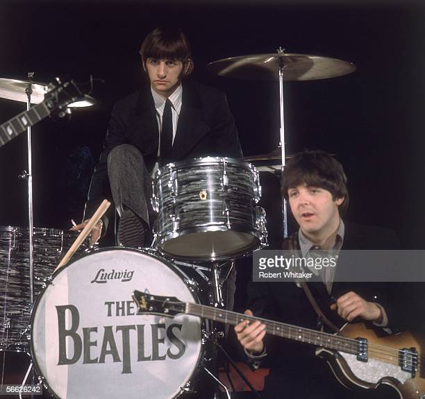 Beatles Paul McCartney and Ringo Starr during a recording session at Abbey Road Studios where a film of Paperback Writer and Rain was captured for a...