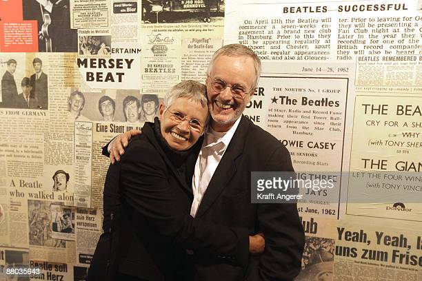 Beatles photographer Astrid Kirchherr and Ulf Krueger pose at the Beatlemania exhibition opening on May 28 2009 in Hamburg Germany The exhibition...