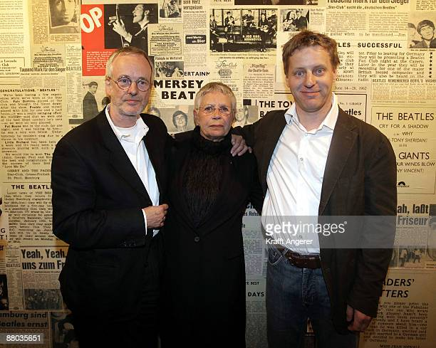 Beatles photographer Astrid Kirchherr Ulf Krueger and Folkert Koopmanns pose at the Beatlemania exhibition opening on May 28 2009 in Hamburg Germany...