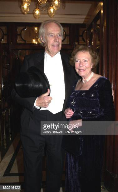 Beatles record producer Sir George Martin with his wife Judy arrives at the London Palladium for a tribute event to remember Hollywood legend Fred...