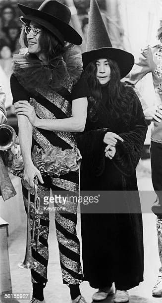 Beatles singer and songwriter John Lennon with his wife Yoko Ono on the set of the TV special 'Rolling Stones Rock n Roll Circus' at Internel Studios...