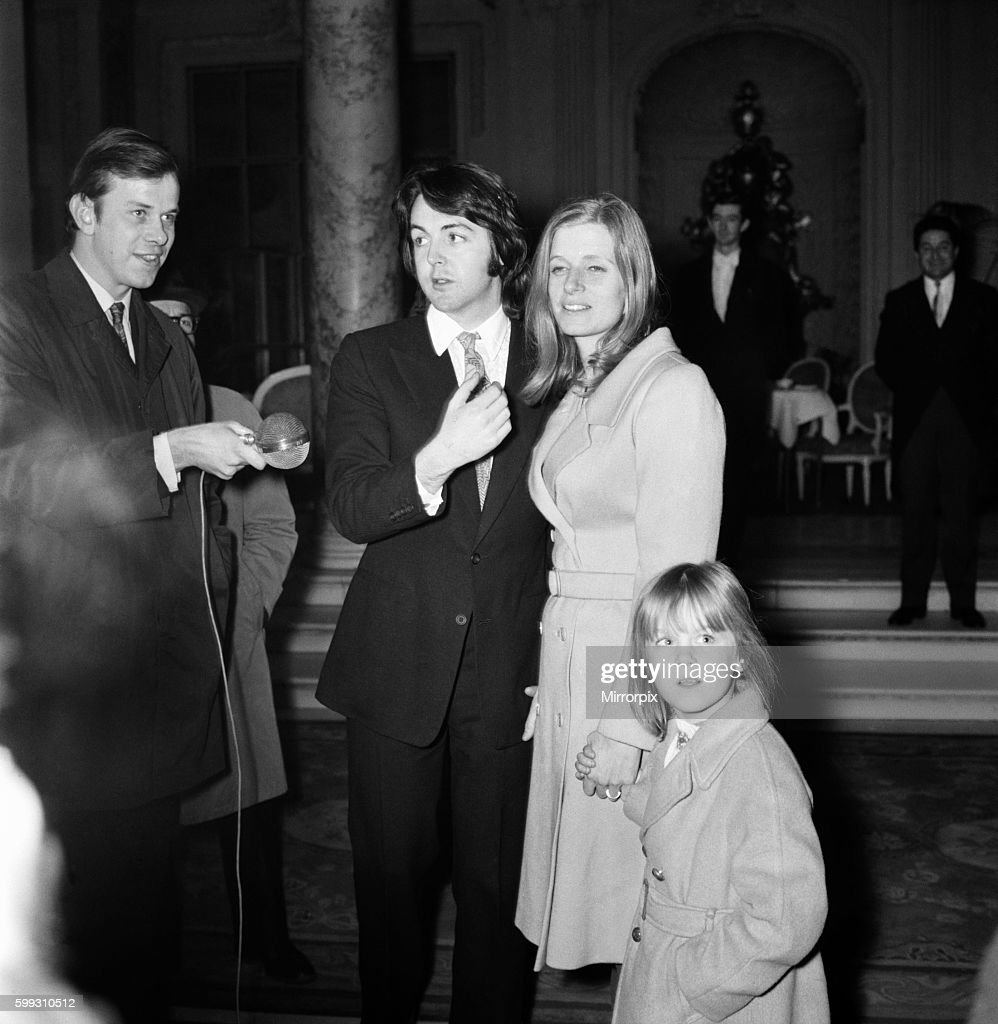 Beatles Singer Paul McCartney With His Bride Linda Eastman And Her