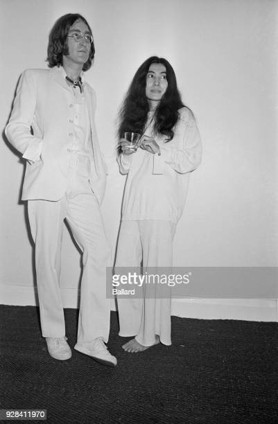 Beatles singer songwriter and guitarist John Lennon and his wife artist Yoko Ono at the opening of John's 'Joke Art' exhibition UK 1st July 21968