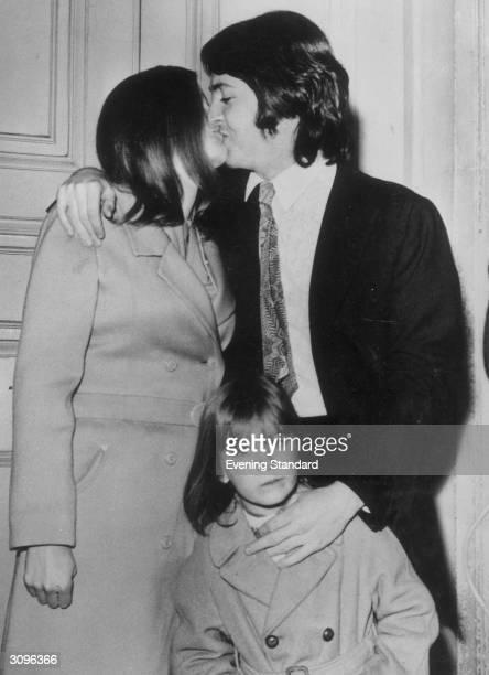 Beatles star Paul McCartney weds American photographer Linda Eastman With them is daughter Heather