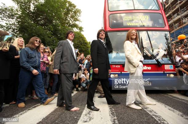 Beatles tribute band recreate the Beatles' 'Abbey Road' Album cover on the 40th anniversary to the minute of when the original image was taken on...