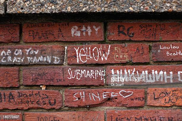 Beatles-themed graffiti on the wall of Abbey Road Studios in St John's Wood on March 5, 2012 in London, England. Abbey Road in North London has been...