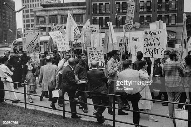 Beatniks at City Hall protesting against closing of Greenwich village coffee houses