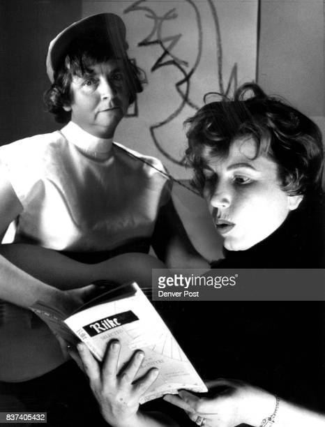 Beatniks at Work Like dwellers of Endsville Mrs Elmer F Kahn and Mrs Glenn A Callahan strum and recite gravely They are practicing their beatnik...