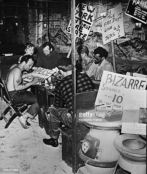 Beatniks preparing for a demonstration against the closing down of coffeeshops where they hold literary meetings declared by New York firefighters as...