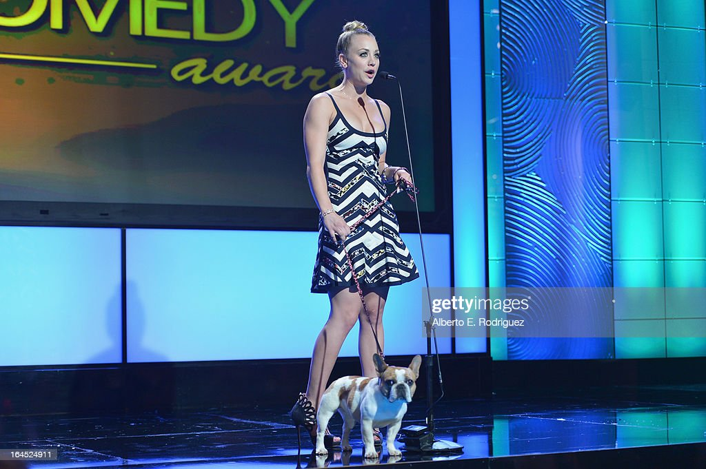 Beatrice and actress Kaley Cuoco attends the 2013 Genesis Awards Benefit Gala at The Beverly Hilton Hotel on March 23, 2013 in Beverly Hills, California.