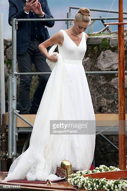 Beatrice Boromeo leaves Isola Madre to attend her wedding party on August 1 2015 in Stresa Italy